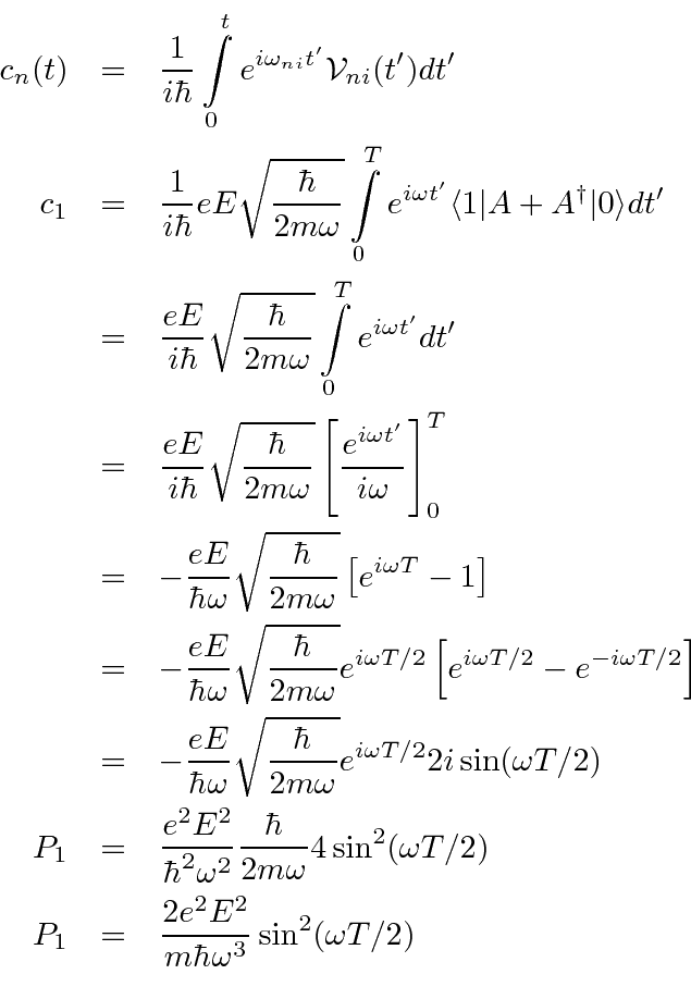 Harmonic Oscillator In A Transient E Field